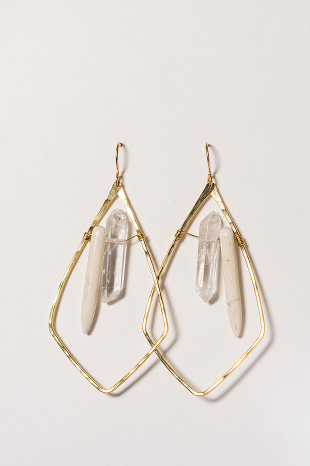 PHD Brass Quartz Howlite Shield Earrings on white Backgrond