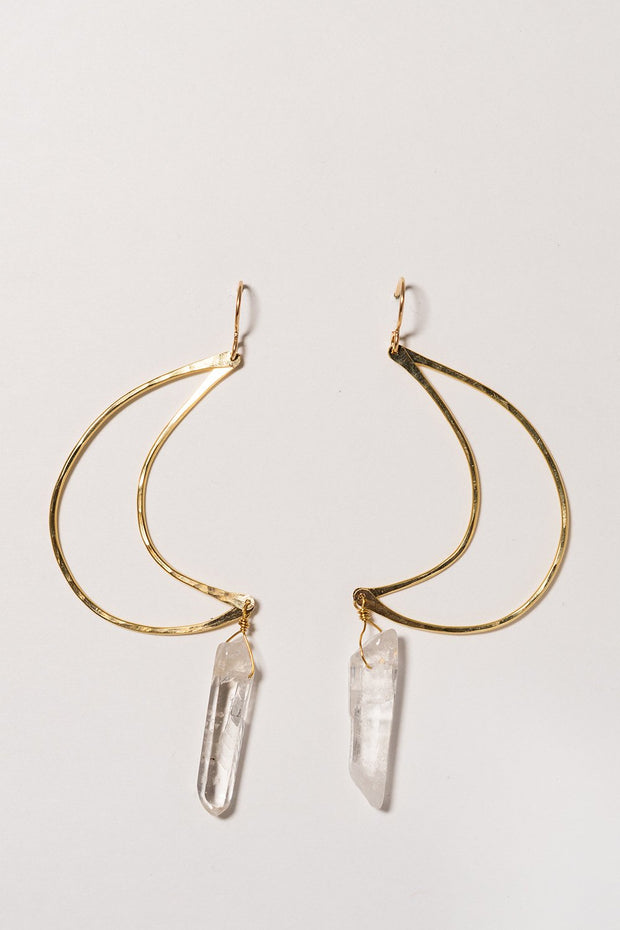 PHD crystal moon earrings on white background