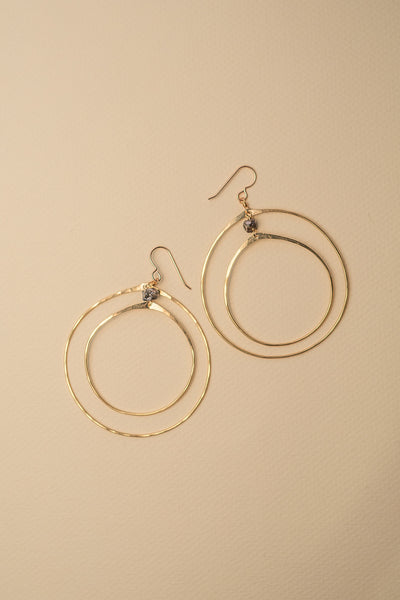 PHD Double Hoop Earrings on color background
