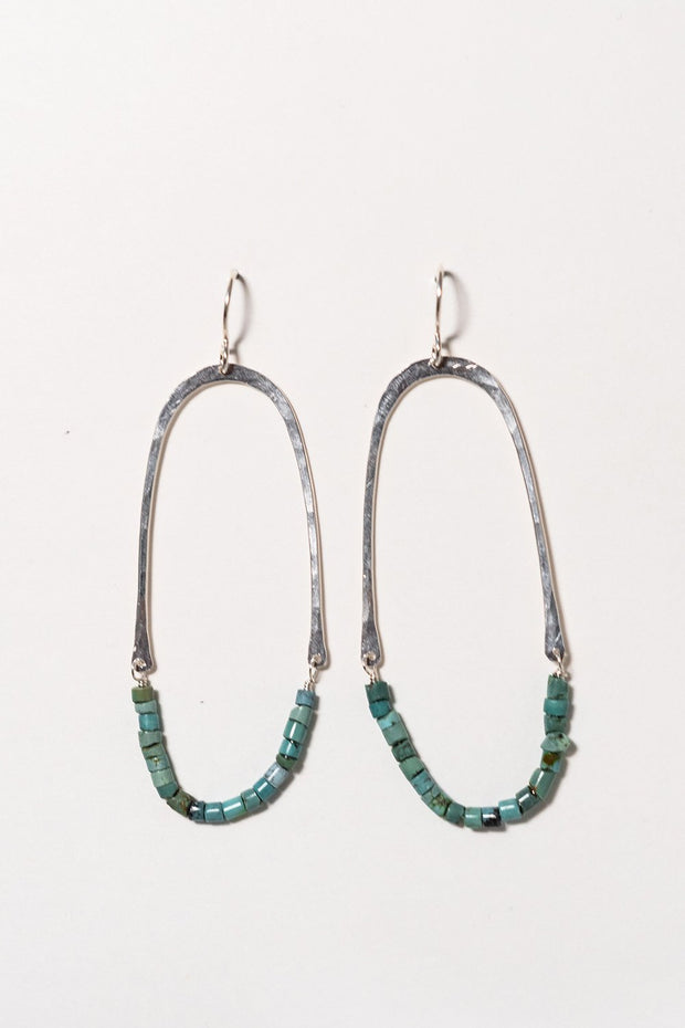 PHD Turquoise Half Oval Earrings on white background