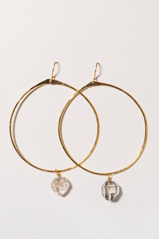 PHD Herkimer Diamond Hoop Earrings on white background