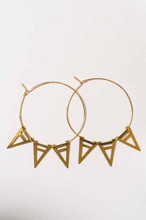PHD Self-closing hoop with spikes gold on white backdrop