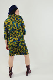 Paisley Printed Mock Neck Sheath Dress