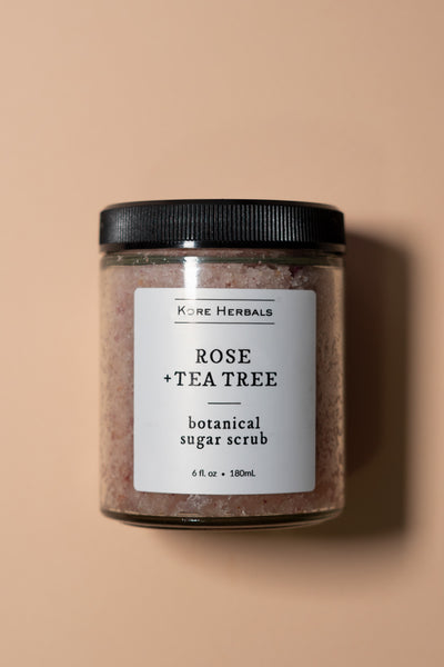 kore herbals Rose + Tea Tree Botanical Sugar Scrub on color
