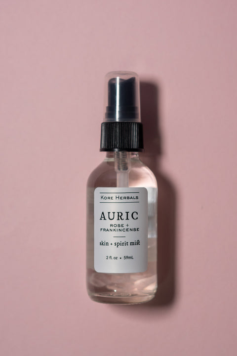 Kore Herbals Auric Skin + Spirit Mist on Color background