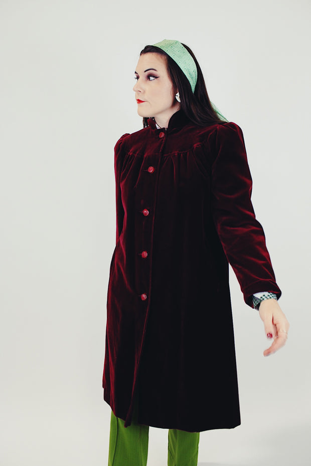 Long Maroon Velvet Jacket