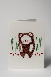 Loaded Hips Press Animal Holiday Card Set Solo Bear
