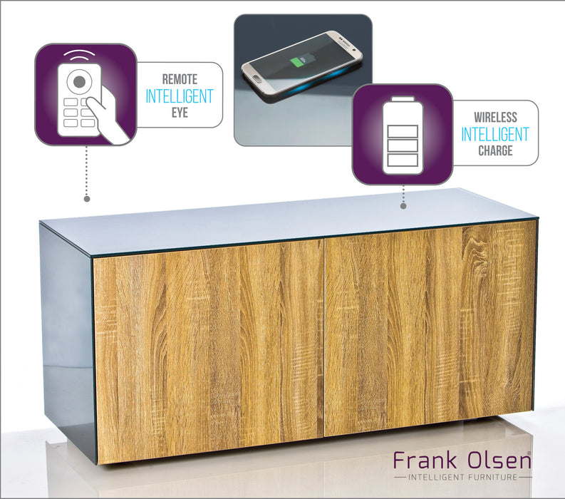 Frank Olsen High Gloss 1100 grey cabinet with oak doors 55''screen