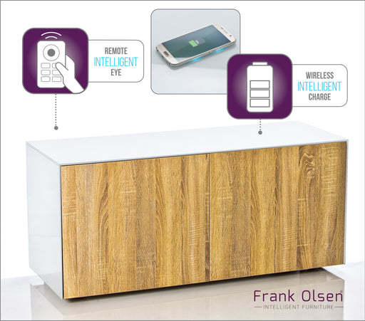 Frank Olsen High Gloss 1100 white cabinet with oak doors 55'' screen