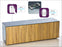Frank Olsen High Gloss 1500 grey cabinet with oak doors 70'' screen