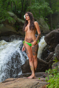 Waterfall green bikini mini poster