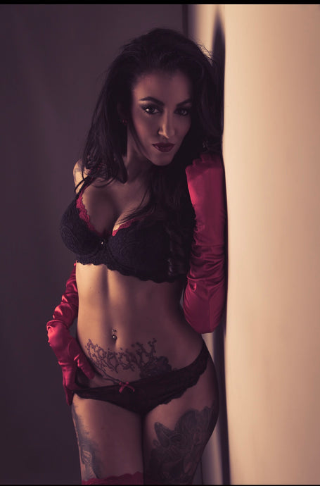 Red gloves and lace