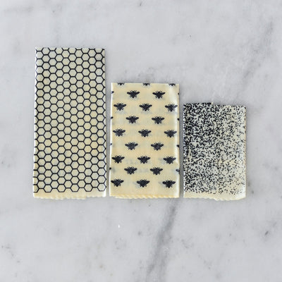 Apiary Made Beeswax Wraps - Bee Pattern- 3pk