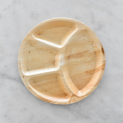 "Biodegradable Palm Leaf Plate - 12"" Divided Round"