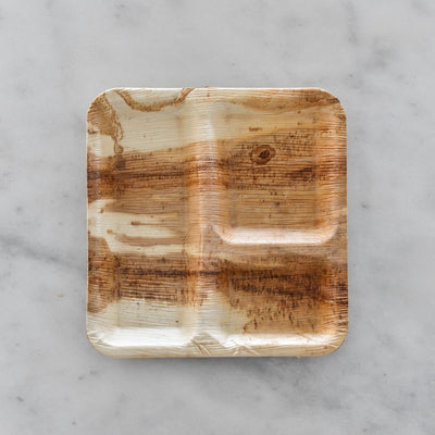 "Biodegradable Palm Leaf Plate - 9"" Divided Square"
