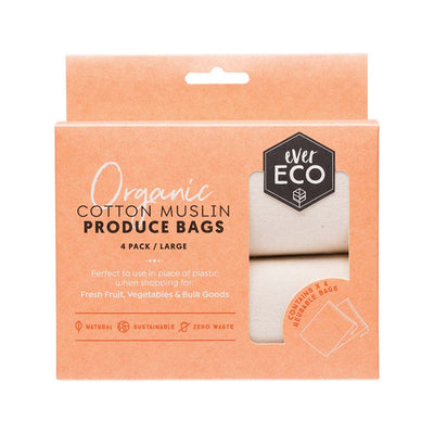 Ever Eco Organic Cotton Produce Bags - Muslin - 4pk