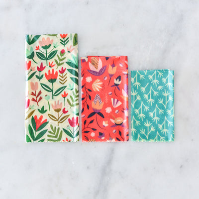 Apiary Made Beeswax Wraps - Colourful Kitchen- 3pk