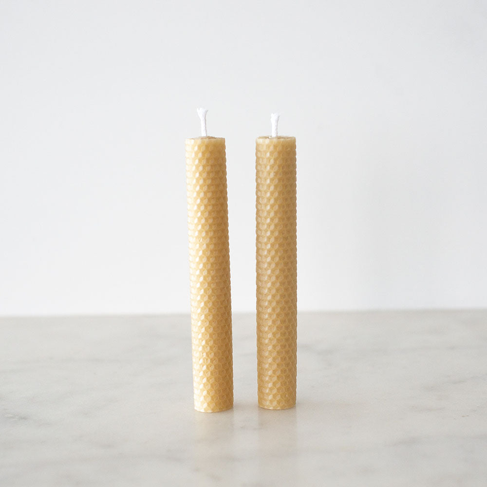 Apiary Made Pure Beeswax Pillar Candles - 2pk