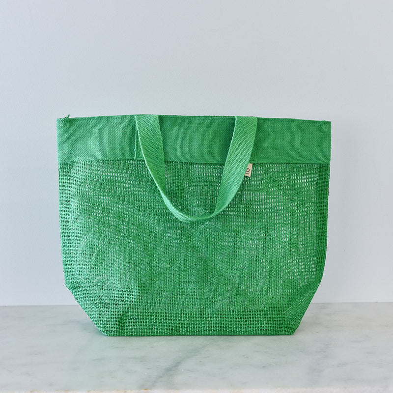 Apple Green Duck Jute Mesh Bag