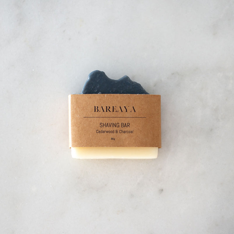 Bareaya Shaving Bar - Cedarwood & Charcoal