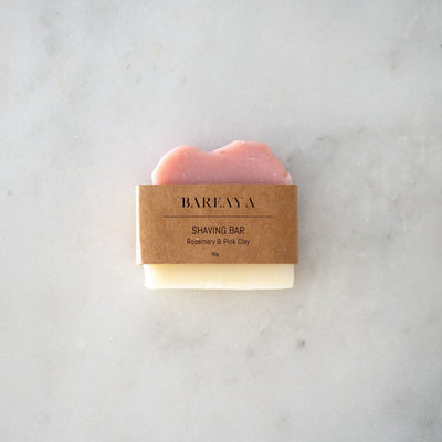Bareaya Shaving Bar - Rosemary & Pink Clay