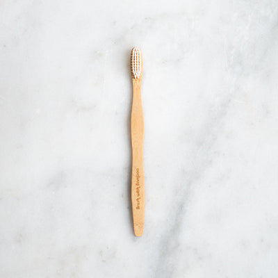 Brush with Bamboo Toothbrush with Castor Bean Oil Bristles - Adult Soft