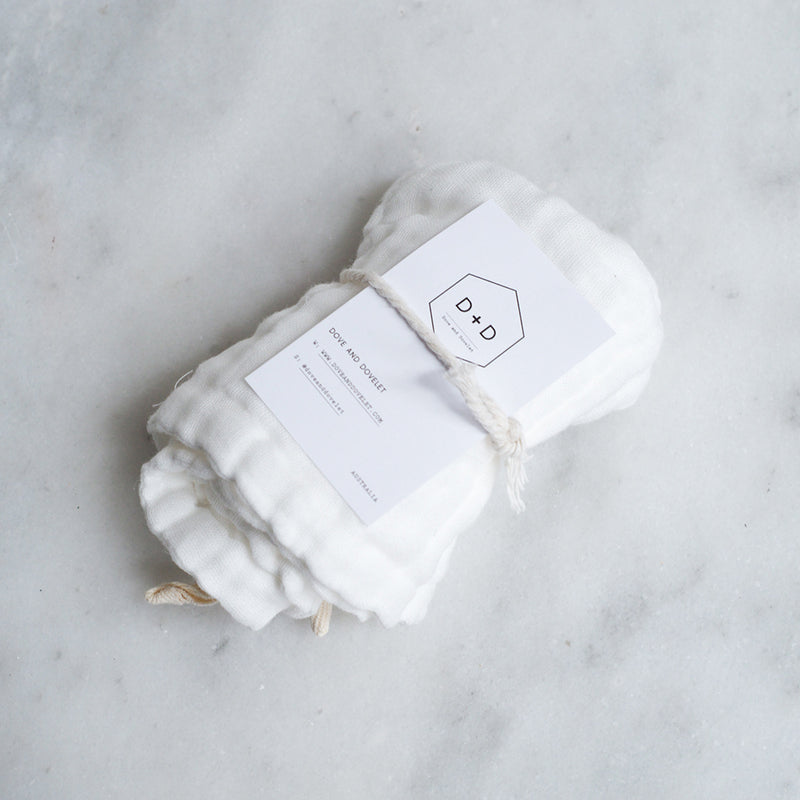 Dove and Dovelet Organic Cotton Muslin Wash Cloths - 2 pck