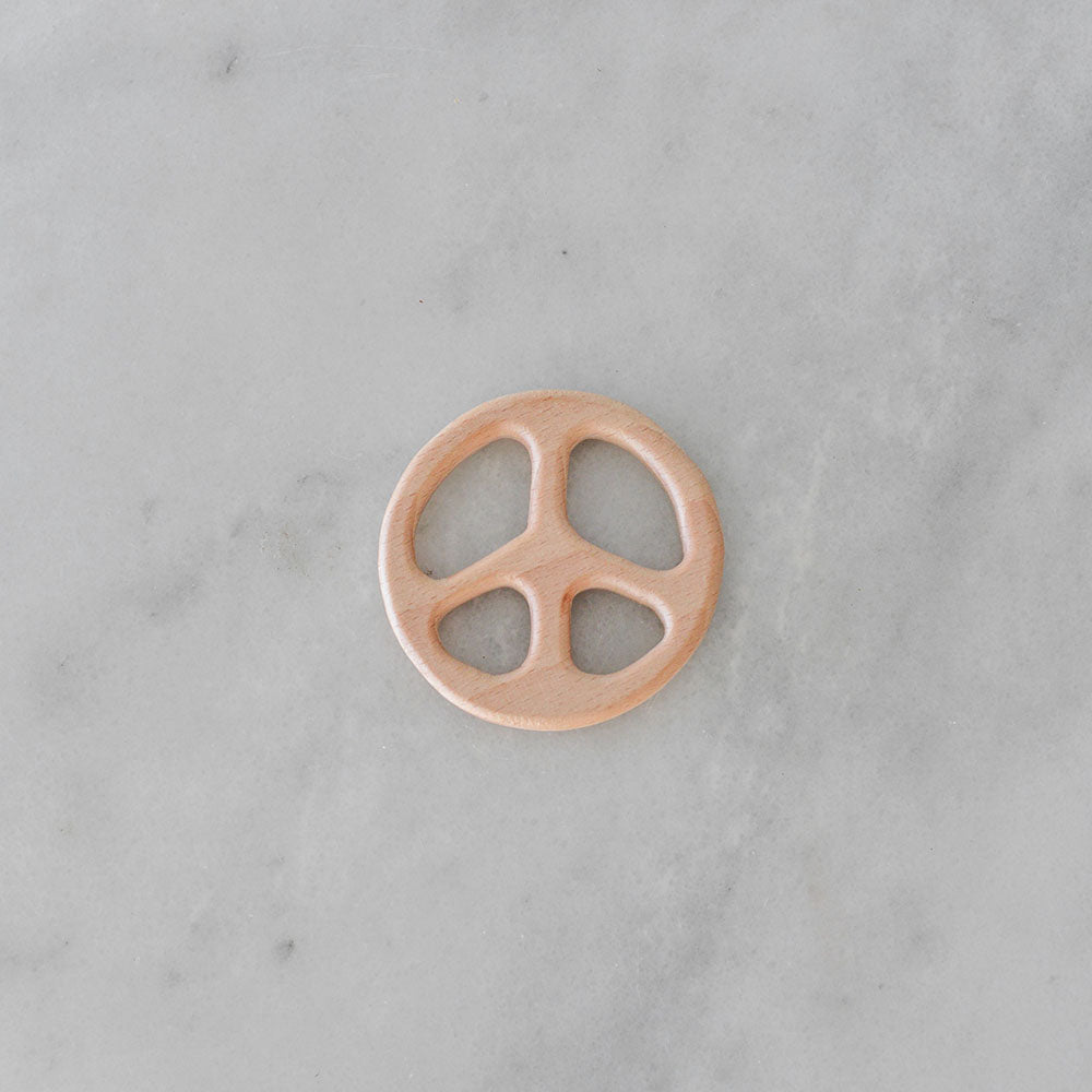Dove and Dovelet Wooden Peace Sign Teether