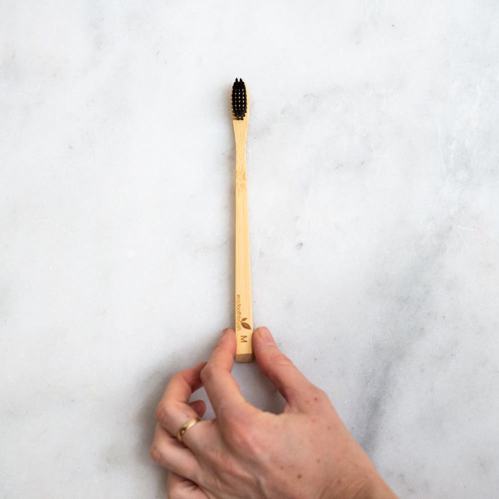 Eco Bamboo Toothbrush with Charcoal Bristles - Medium