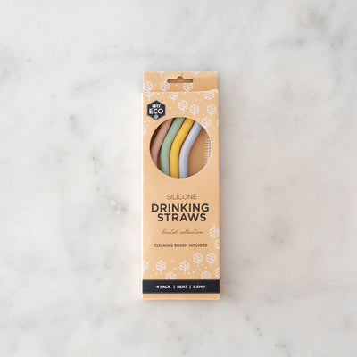 Ever Eco Silicone Drinking Straw - Bent - 4pk