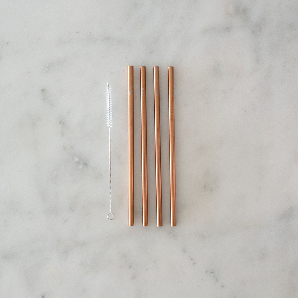 Ever Eco Rose Gold Straw - Straight - 4pk