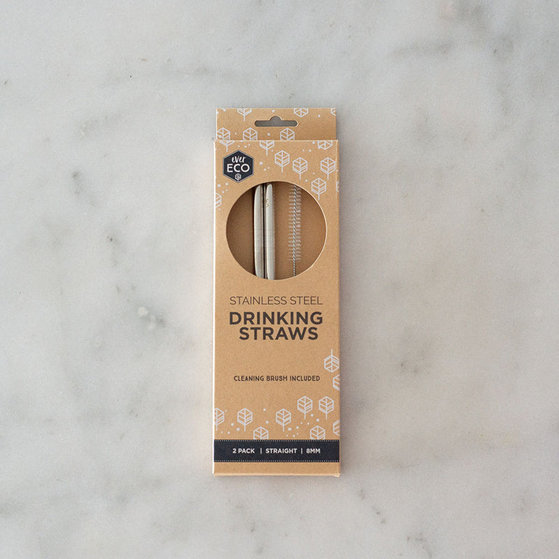 Ever Eco Stainless Steel Straw - Straight - 2pk