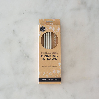Ever Eco Stainless Steel Straw - Straight - 4pk