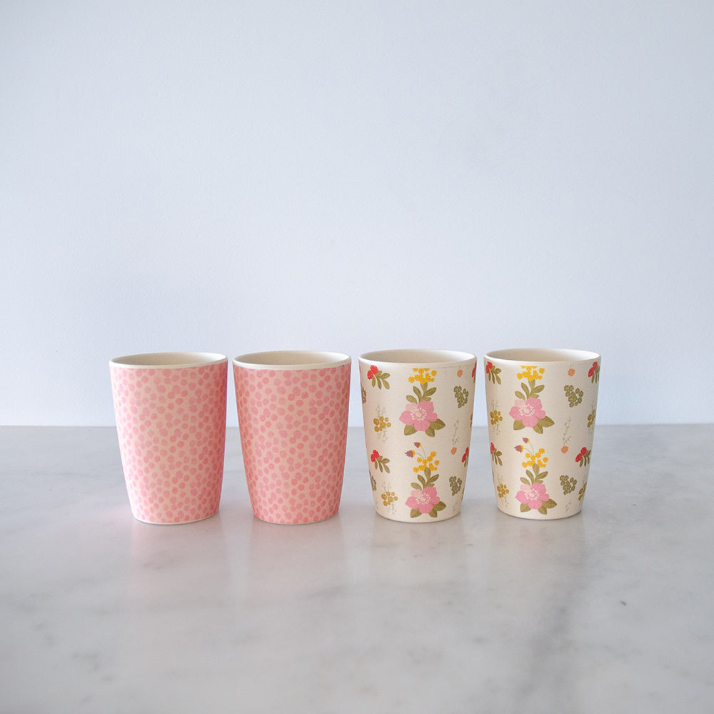 Love Mae Bamboo Tumblers 4 Pack - Floral and Pink
