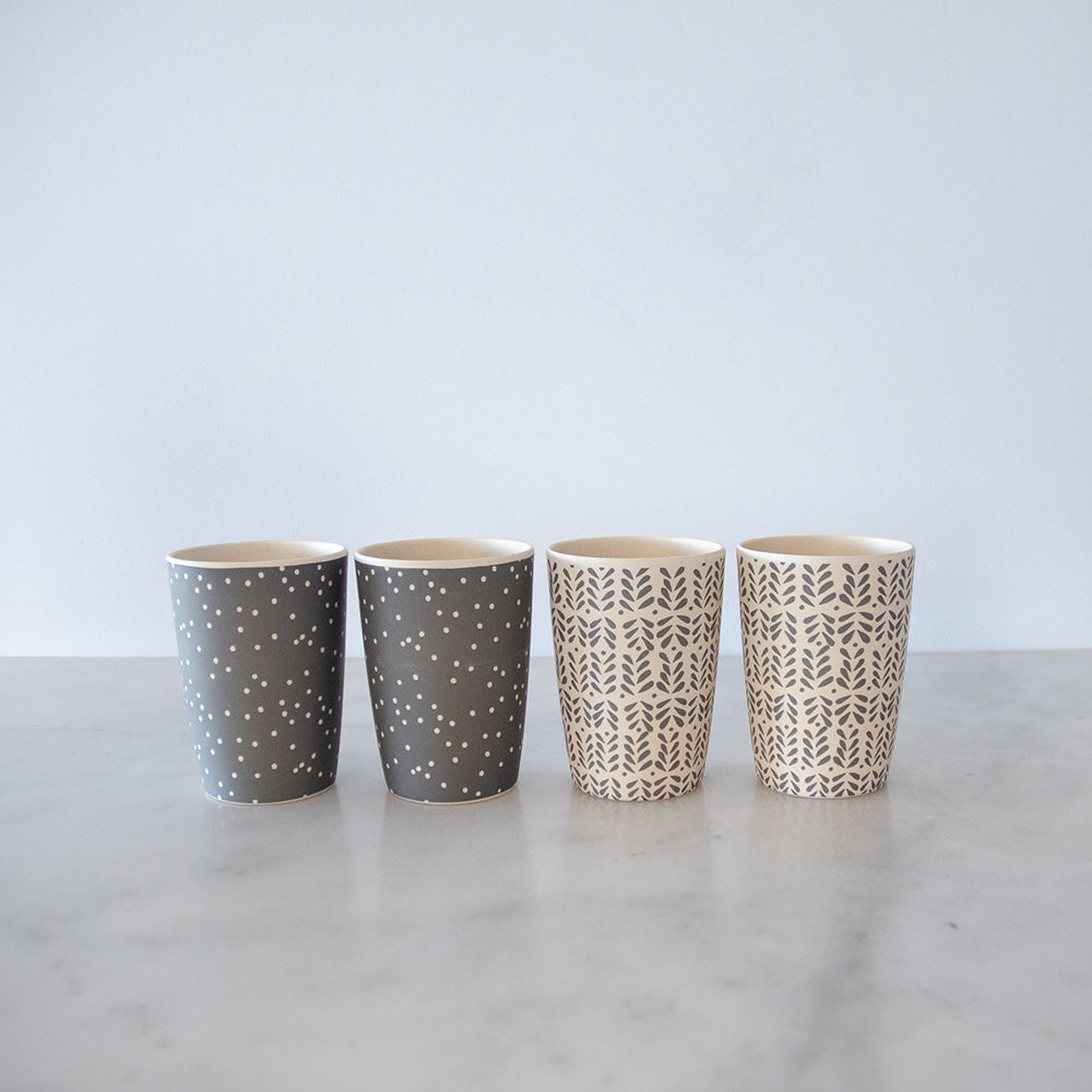 Love Mae Bamboo Tumblers 4 Pack - Monochrome Mix