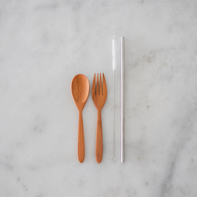 Wanderlightly Wooden Cutlery, Straw, Cleaner and Pouch
