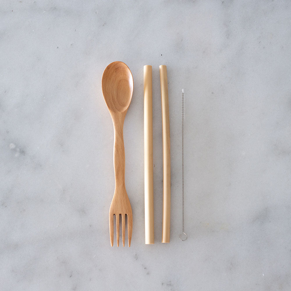 Your Straw Spork, Bamboo Straw and Cleaner Set