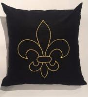 PILLOW SILK FLEUR DE LIS EMBROIDERED