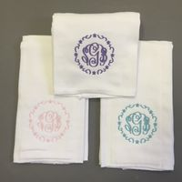 MONOGRAM GIRL'S WREATH BURP CLOTH SET includes monogram