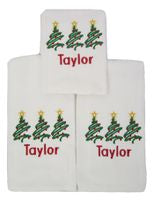BURP CLOTH SET OF 3 EMBROIDERED MONOGRAM TREES
