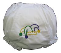 MARDI GRAS EMBROIDERED JESTER EYELET DIAPER COVER