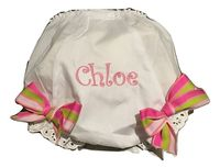 EMBROIDERED MONOGRAM EYELET DIAPER COVER NAME WITH PINK STRIPE BOW