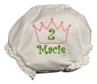 EMBROIDERED MONOGRAM CROWN EYELET BIRTHDAY DIAPER COVER