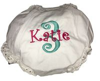 EMBROIDERED MONOGRAM BIRTHDAY DIAPER COVER or PANTY