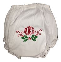 EMBROIDERED MONOGRAM HOLLY EYELET DIAPER COVER OR PANTY