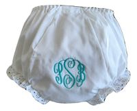 EMBROIDERED MONOGRAM DIAPER COVER CIRCLE SCRIPT