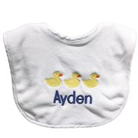 MONOGRAM 3 DUCKS EMBROIDERED TERRY BIB