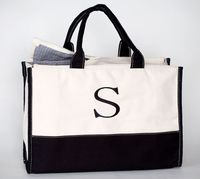 MONOGRAM CANVAS VIVERA TOTE NATURAL BLACK