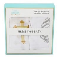 SWADDLE BLANKET BLESS THIS BABY 2-PACK