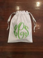 MONOGRAM EMBROIDERED TRAVEL BAG WITH DRAWSTRING